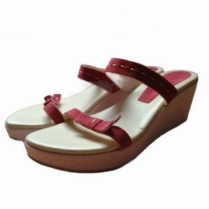 TOMMY BAHAMA Red Suede Slip on Wedge Sandal 8